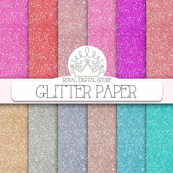 "Glitter Digital Paper : "" Glitter Paper "" with glitter background, glitter texture in gold, silver, pink, purple, red, turquoise"