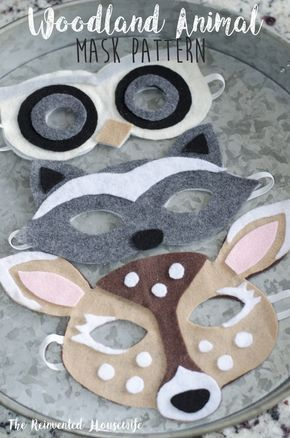 FREE woodland animal mask pattern from The Reinvented Housewife! Printable felt forest critter mask pattern, deer, raccoon, owl, bear, fox, bunny rabbit. Camping, outdoor, lumberjack, woodland themed birthday party baby shower.