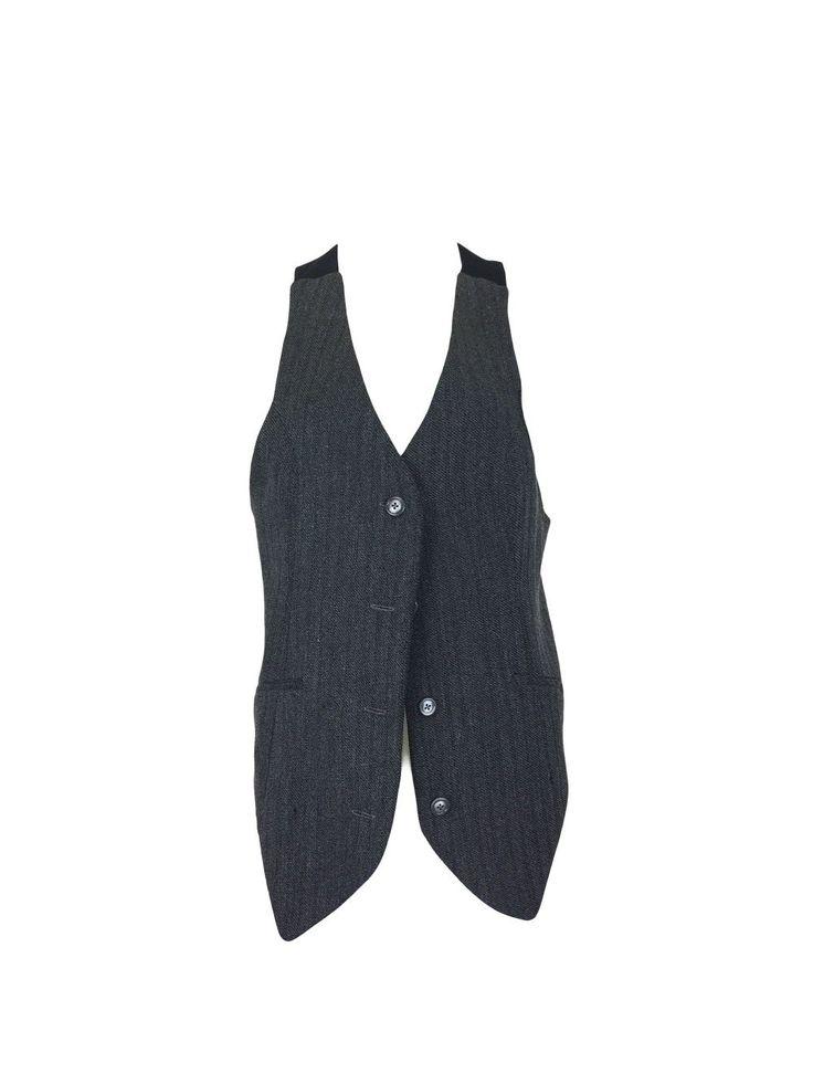 Grey Twill Elongated Vest