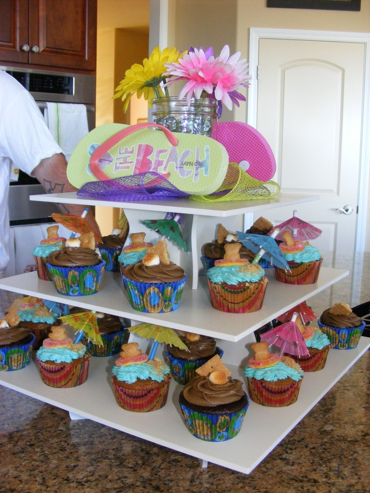 Summer party at Cec's - Beach Themed Square Cupcake Tower Display: http://www.thesmartbaker.com/5-tier-square-cupcake-tower/