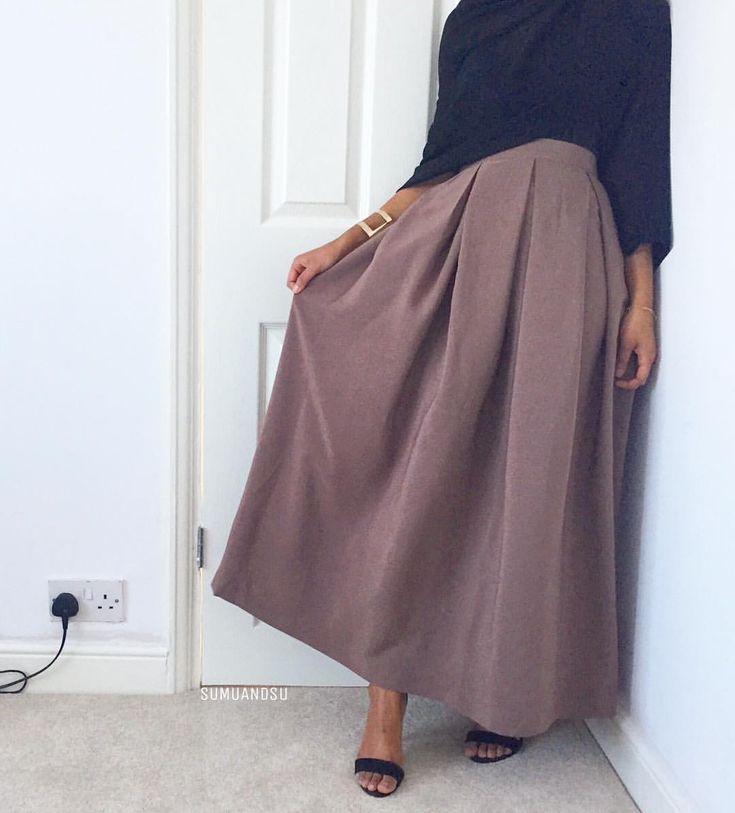 (@sumuandsu) Mauve pleated skirt #springsummer2017
