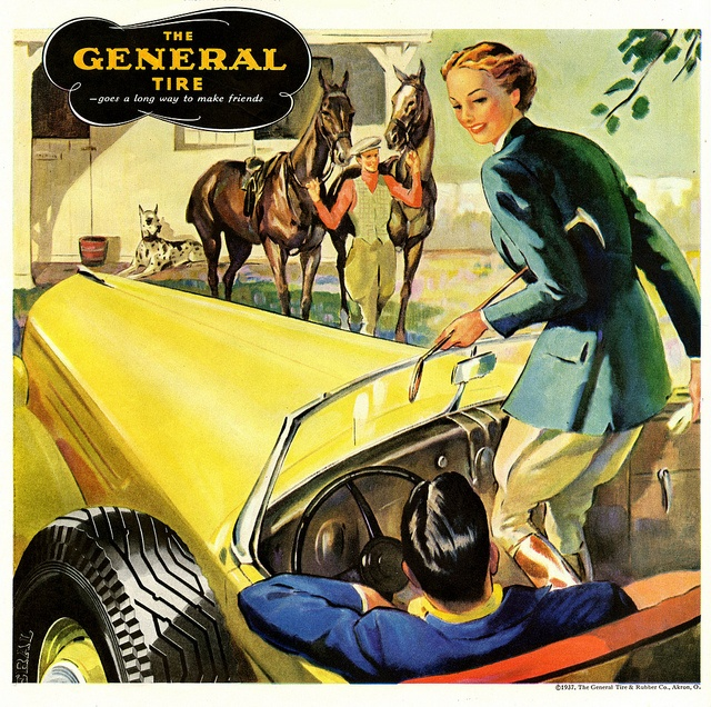 A beautifully illustrated 1930s ad for General Tires that was geared towards the stylish horsey set.
