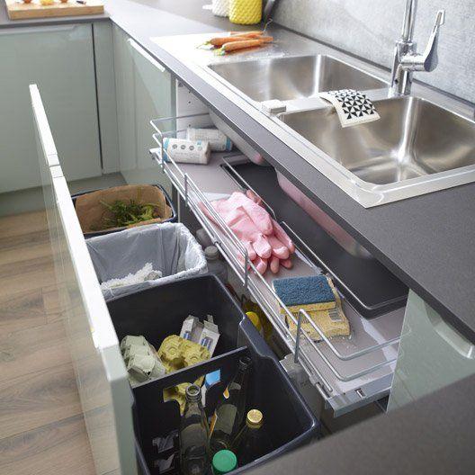 Rangement coulissant sous-évier 4 poubelles pour meuble l.100 cm, DELINIA 126…