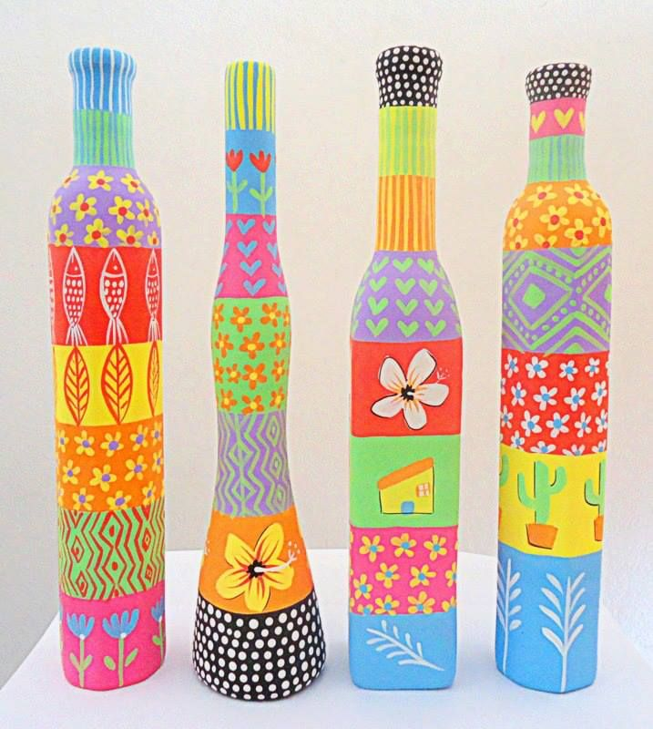 ♥Botellas pintadas, mucho color!