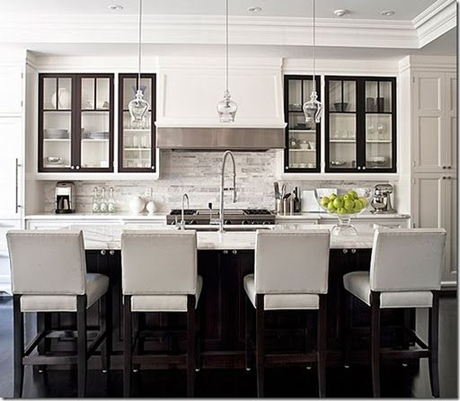 Nice and simple white kitchen with pretty clear glass mini ...