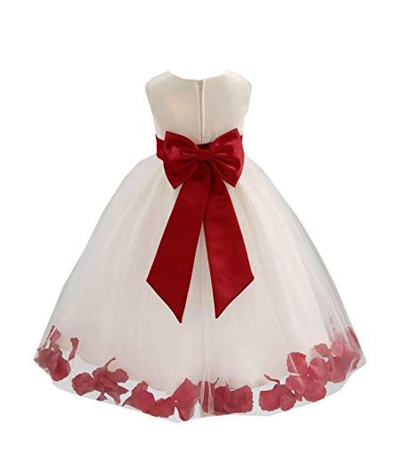 Wedding <b>Pageant</b> Flower Petals <b>Girl</b> Ivory <b>Dress</b> with Bow Tie Sash ...