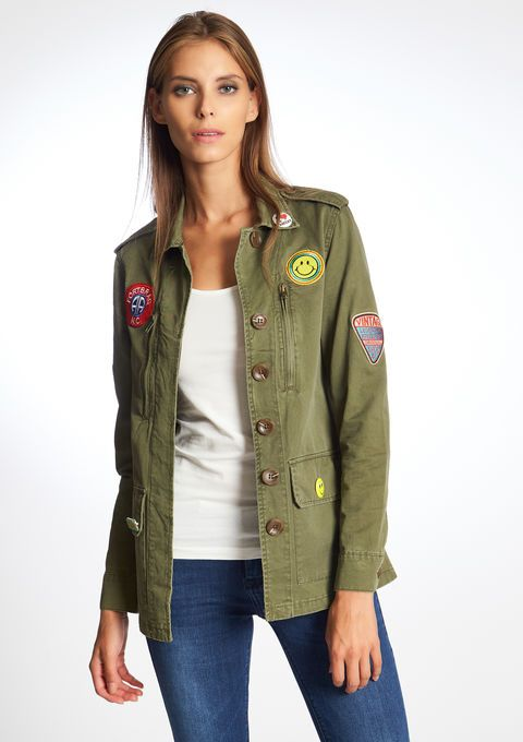 Lola Liza .com Jacket military Jas in militaire stijl met badges - INTENSE OLIVE - 09000827_1887