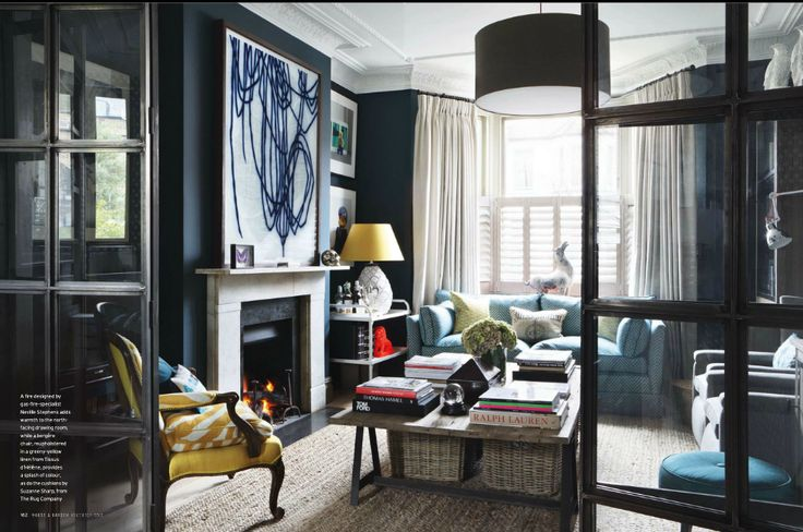 colours + moody palette in eclectic living room by Carmody Groarke via House and Garden