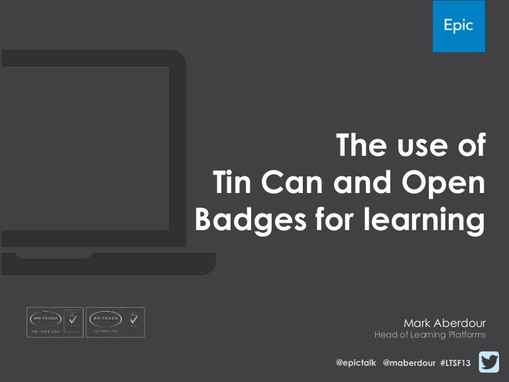 Epic's Head of Platforms Mark Aberdour presents 'The use of Tin Can and Open Badges for learning' to a packed seminar at Learning Technologies Summer Forum.