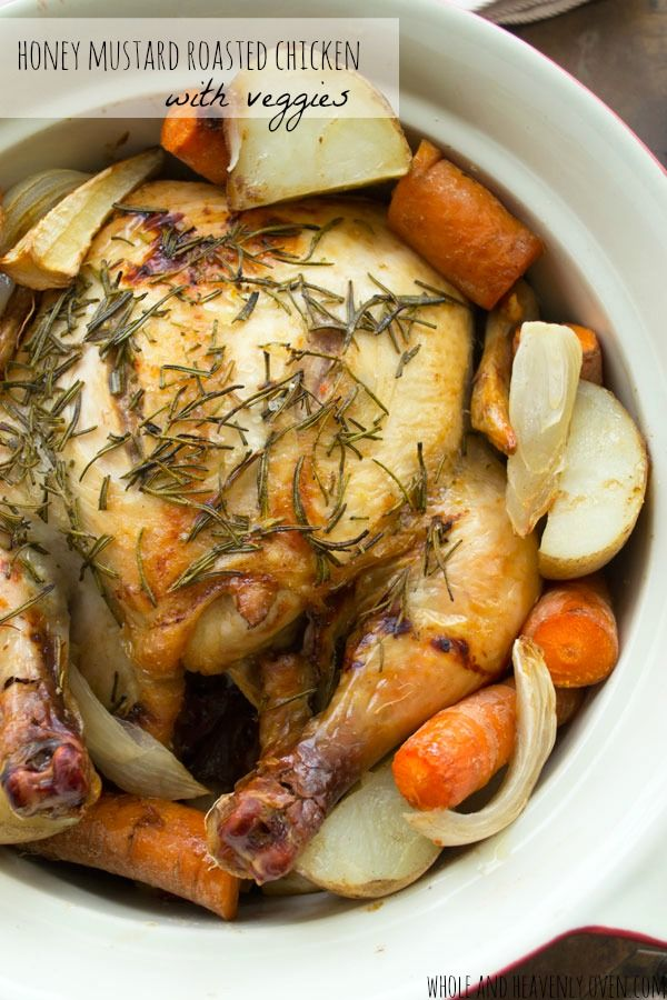 This simple roasted chicken is full of comforting fall flavors with lots of tender veggies on the side. It's so easy and comforting you'll want to make it all winter long!