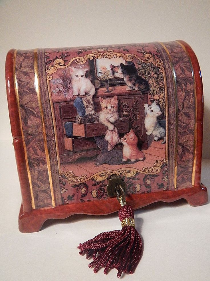 2002 Kitten Capers Music Box 1st in Cat Tales Series by Jurgen Scholz
