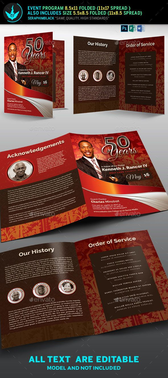 crimson plus silver pastors anniversary church program template informational brochures
