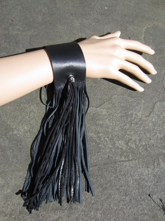 Black Leather Fringe Cuff Bracelet, Wrist Wrap Wristband SKULL Bead