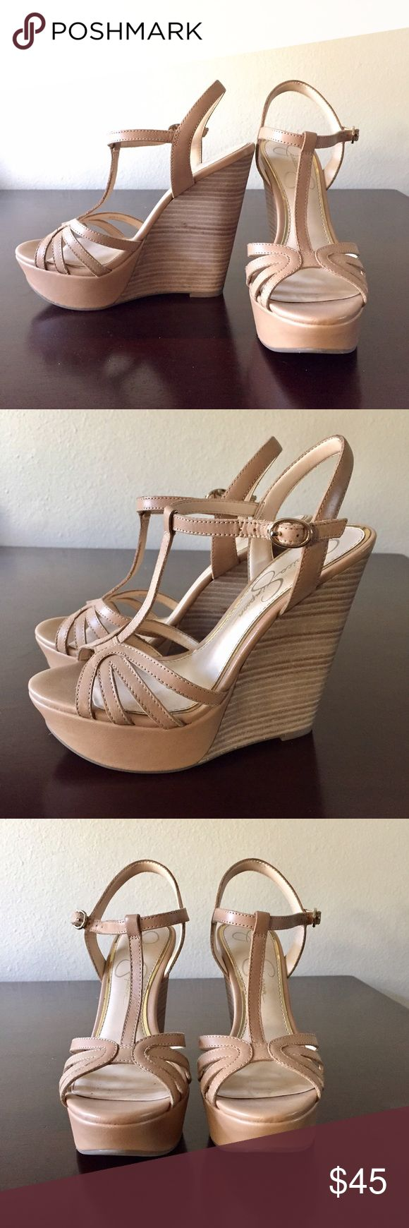 Jessica Simpson Nude Wedge Sandals These wedges are cute, comfortable, and give great height! Adjustable strap and cute design. Worn only once or twice. In excellent condition! Size 6, true to size. I really love these shoes, but have too many nude wedges, and need to edit 😓 Jessica Simpson Shoes Sandals