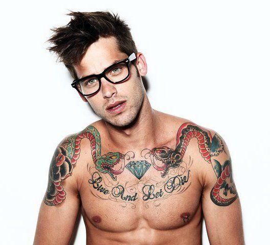 //Mhmm.: This Man, Glasses, Nerd Tattoo, Chest Tattoo, Men Tattoo, Crazy Tattoo, Body Modifications, Tattoo Ink, Hot Guys