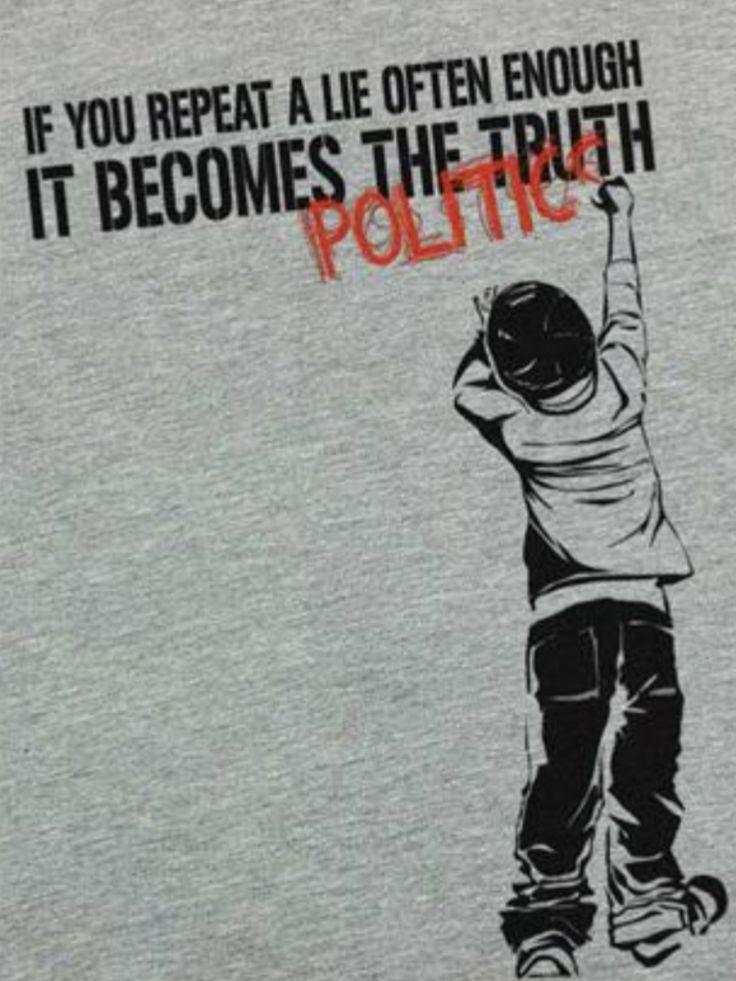 Street Art, Banksy. Si ud repite una mentira muchas veces, se convierte en verdad (política)
