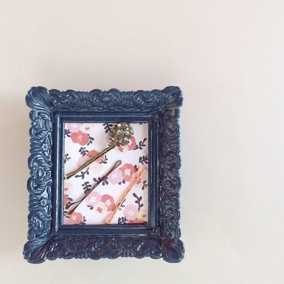 Bobby Pin Holder, Stud Earring Holder, Sewing Pin Holder, Stud Earring Organizer: Navy and Floral