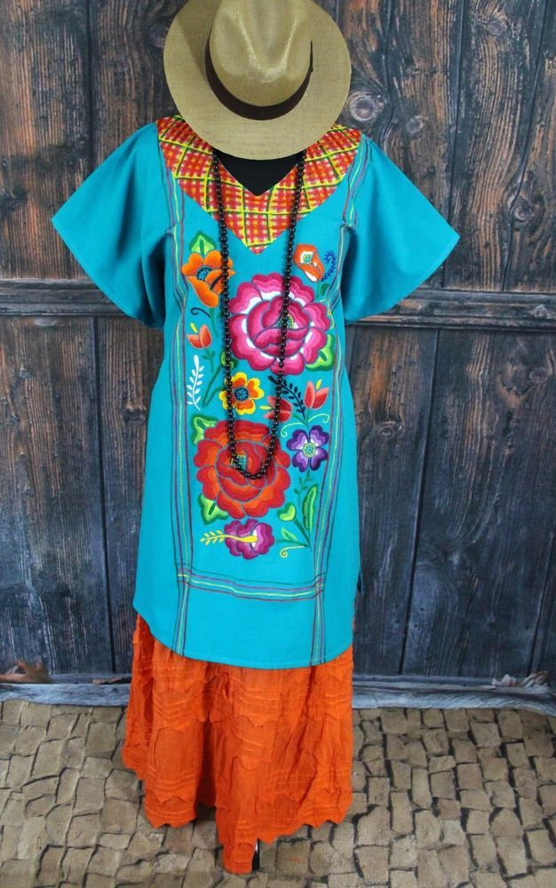 Turquoise Hand Embroidered Flowers Cotton Huipil Tehuana Mexico Hippie Santa Fe #Handmade #MexicanDress