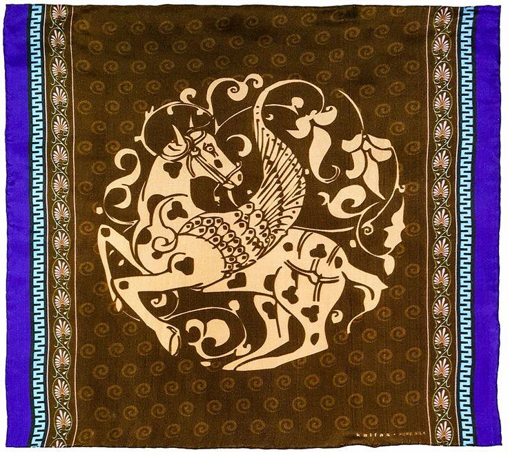 Fabric : 100% Pure Silk Type   : Foulard 7m/m Print   : digital Hand-rolled edges Dimensions  : 50x50cm / 19''x19'' Theme : Ancient Greek Motifs 17-50-102-Brown