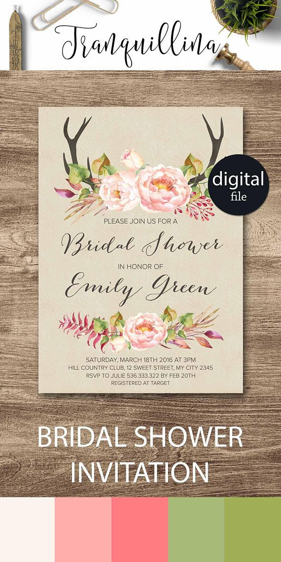 ideas for country wedding invitations%0A Floral Rustic Bridal Shower Invitation Boho Bridal Shower Invitation Deer  antlers floral wedding invitation  Spring