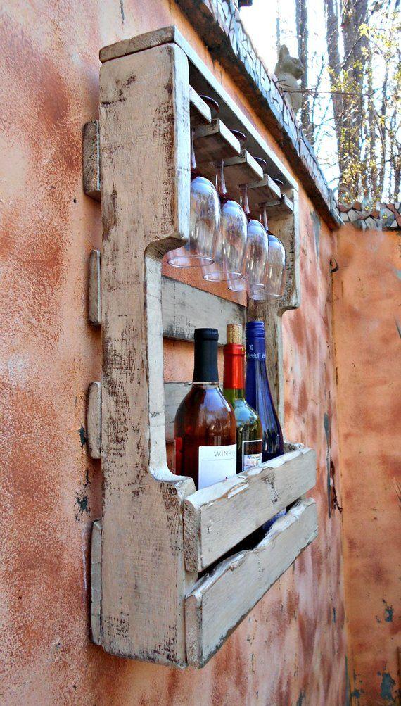 Rustic Wood Wine Rack Reclaimed Wood Distressed White ...