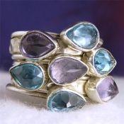 Zilveren ringen set gezet Amethist en blauw Topaas 16.5 mm