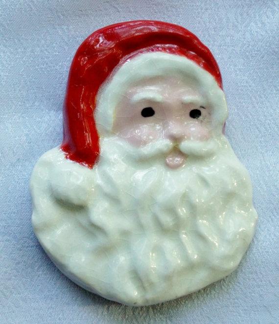 Christmas+Santa+Refrigerator+magnet+by+BallsBeadsandPottery,+$5.00