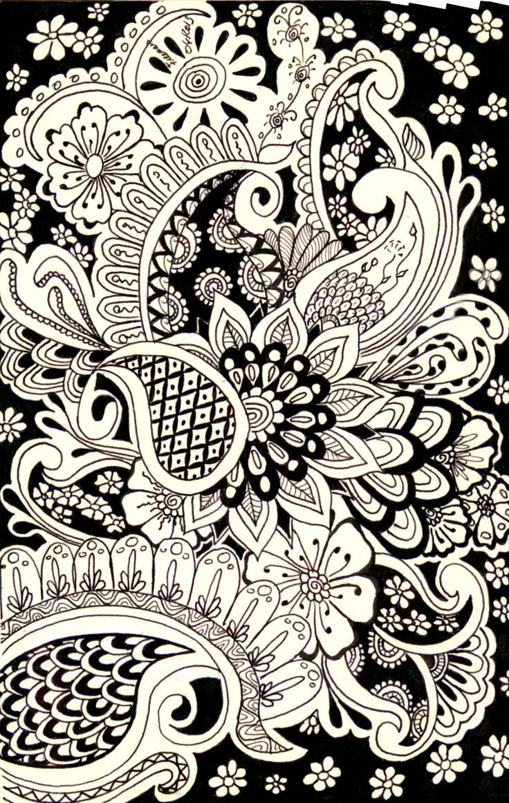 Zen doodle colour - Monochrome Paisley
