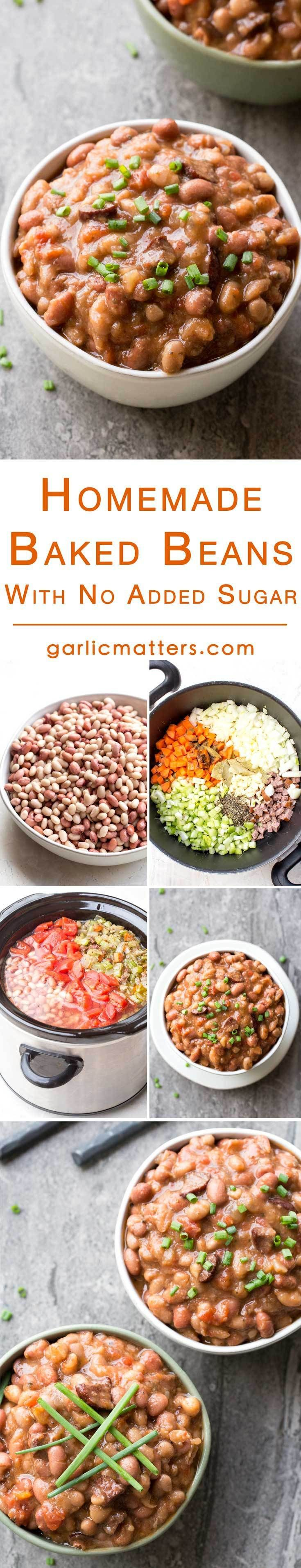 Homemade baked beans is a set and forget, hearty meal, which is such a blessing to come home to on a cold winter's evening. Although, made from scratch the total work on your part takes hardly 20 min! These slow cooker baked beans are 100% added sugar free - much healthier in comparison to beans from a can (even popular Heinz!). Meat is not a major part of this recipe, but a small addition of finely chopped smoked sausage or bacon helps to deepen and complement the flavour.
