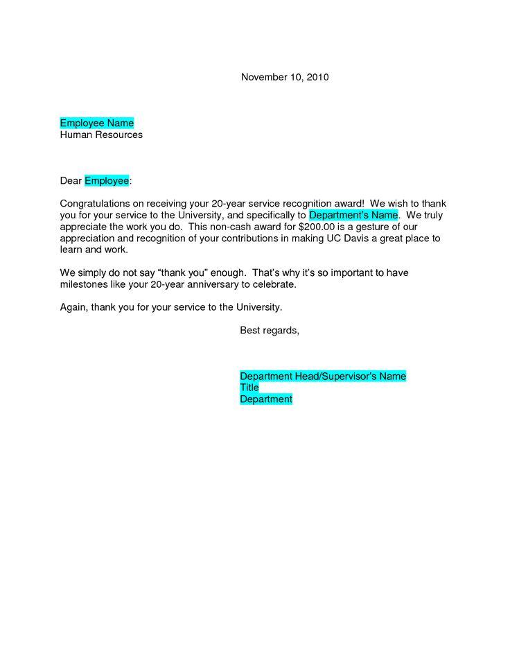 recognition congratulations letter