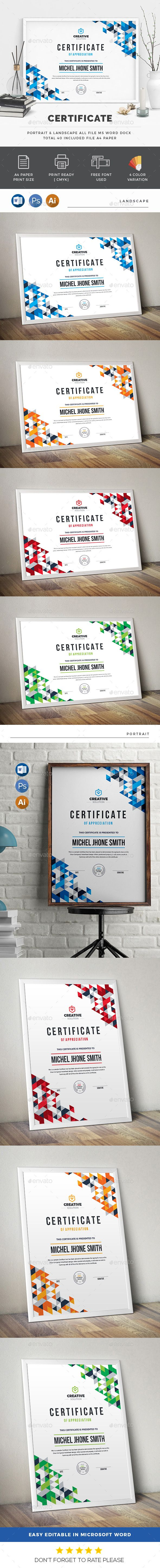 #Certificate - Certificates #Stationery Download here: https://graphicriver.net/item/certificate/20181854?ref=alena994