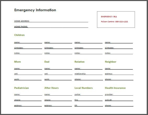 Emergency contact page- regular paper size, customizable
