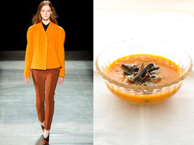 Narciso Rodriguez fw 2013-14 / Cream of pumpkin, mushroom and lime