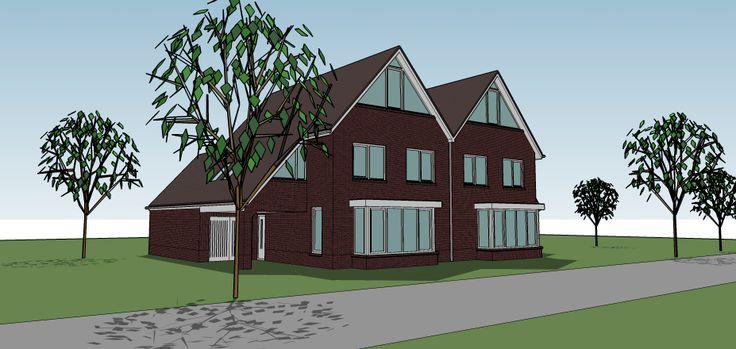 Voor de twee-onder-een kap woningen willen we ook de stijl met rode bakstenen en een mooie vorm van de huizen (Jordi)