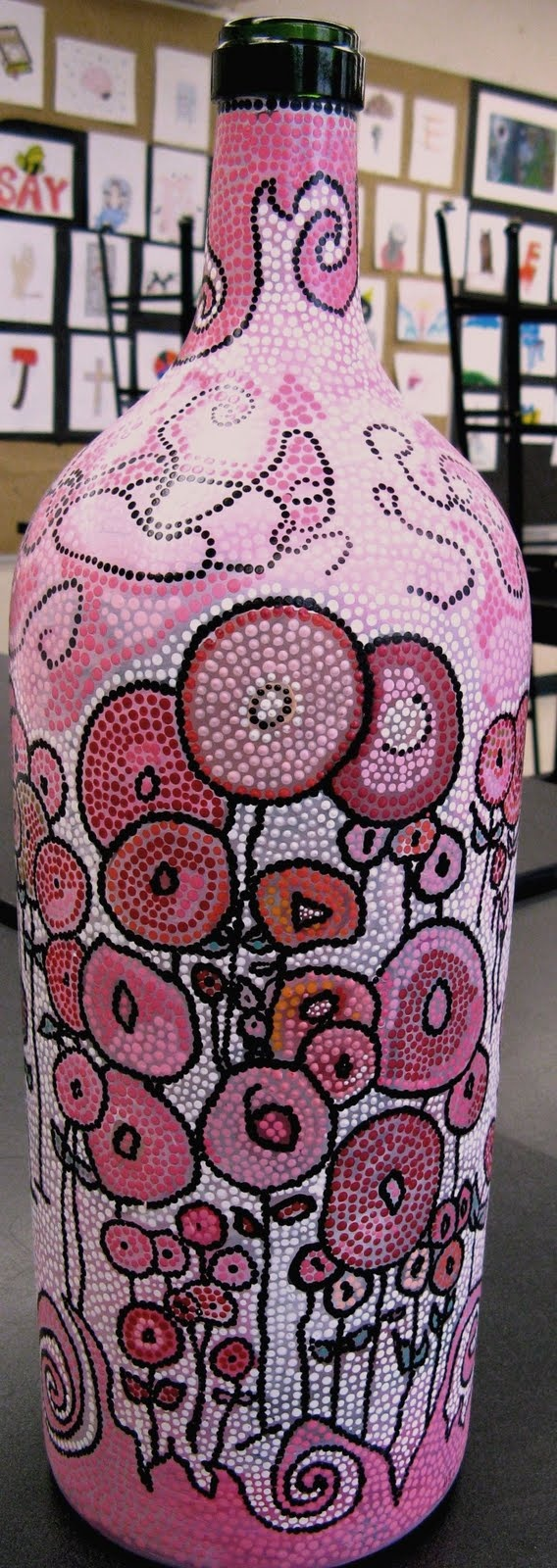 Yvonne Cavanagh: March 2010 Painted wine bottles
