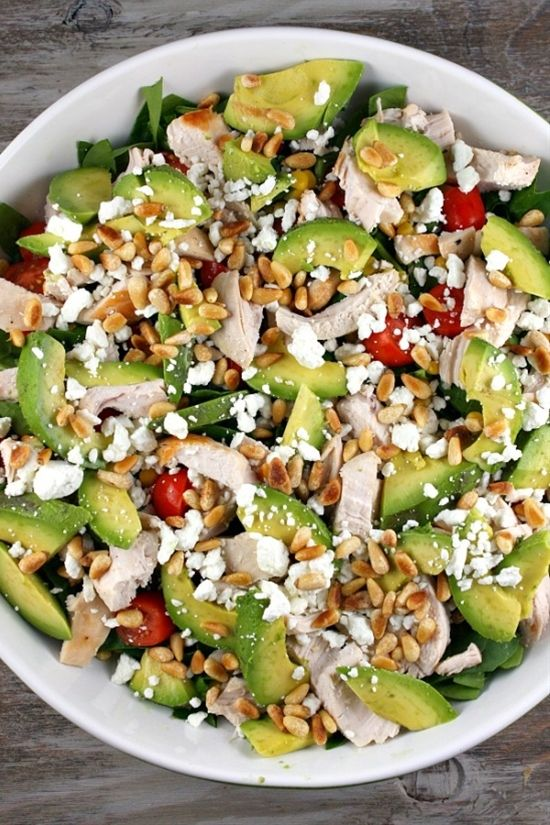 Power salad: chicken, avocado, pine nuts, feta che