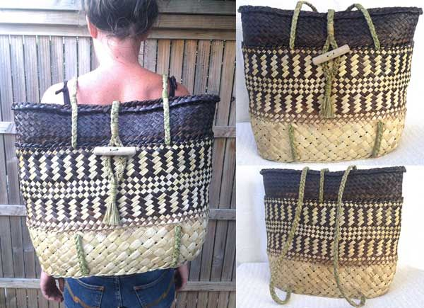 Kete Backpack/ Pikau Unisex - KBP0015 - FLAX KETE by Eve.