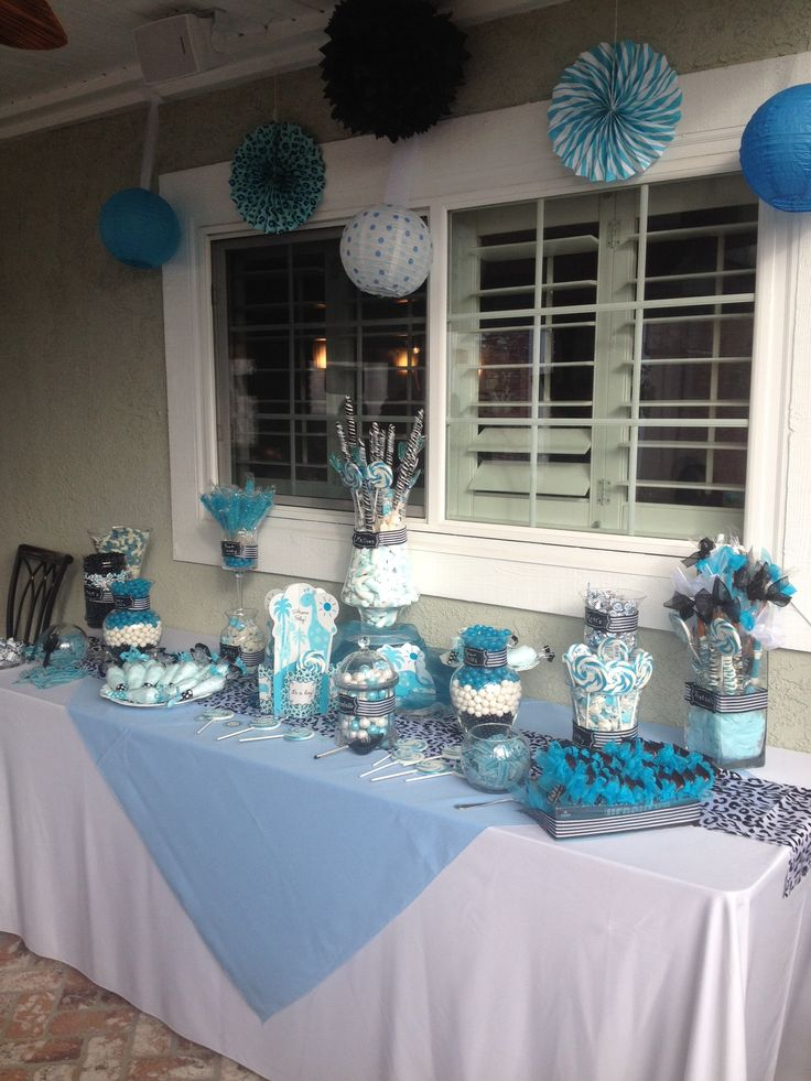 blue black and white baby shower candy table baby showers