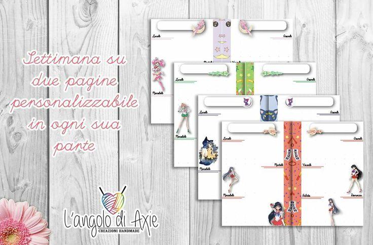 Refill pocket settimana su due pagine Sailor Moon. Una Sailor al mese. Possibilità di personalizzazione.