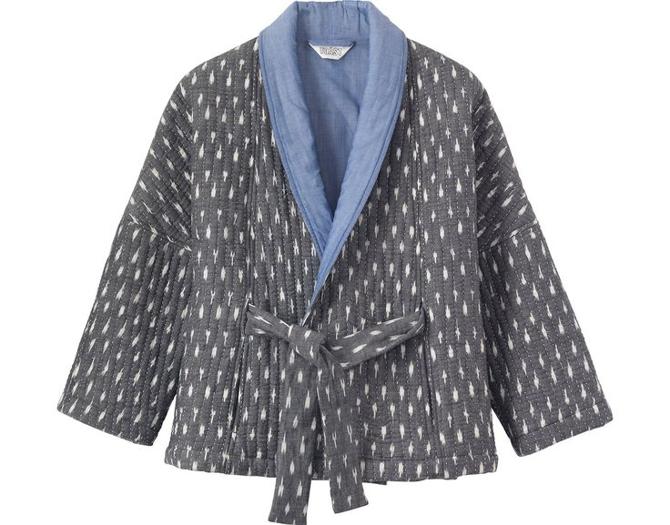 What a lovely idea, a BED jacket- A quilted kimono jacket in hand woven cotton ikat, lined in cotton chambray.