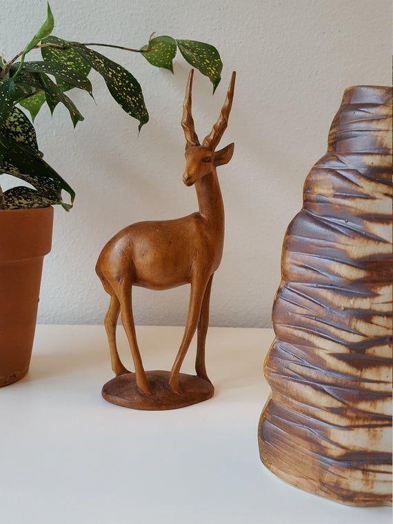 Vintage Wood African Antelope Figurine Handcarved Wood Antelope