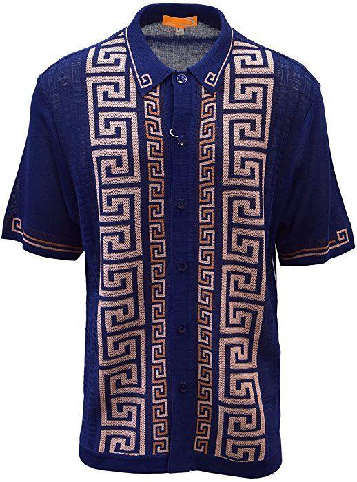 0ec0ed6c SAFIRE SILK INC. EDTION S Men's Short Sleeve Knit Shirt- California  Rockabilly Style: Versace Inspired (XXL, Navy) at Amazon Men's Clothing  store: