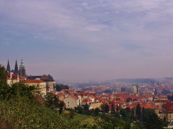 A view over Prague with Prague Castle on the left. Taken from Petrin.