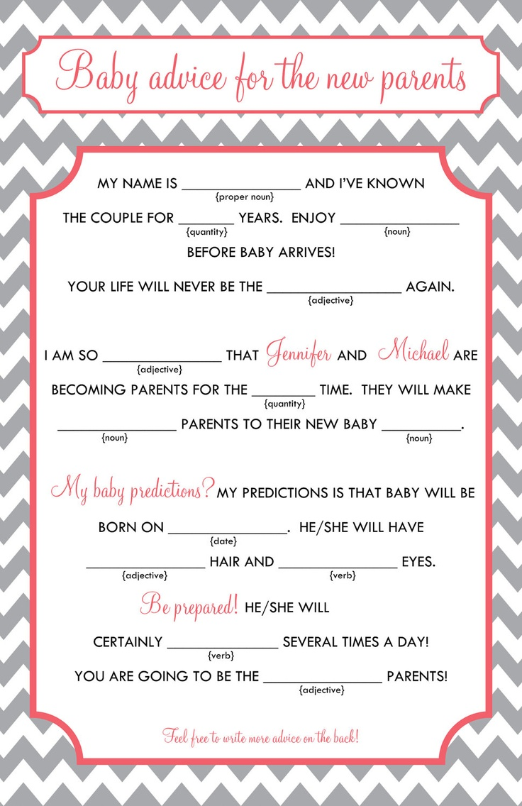 Baby Mad Libs Baby Advice Printable Digital File 15