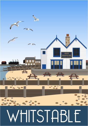 Old Neptune Whitstable on the Kent coast.  Drawn by Karen Wallace. Railway Poster style Illustration by www.whiteonesugar.co.uk