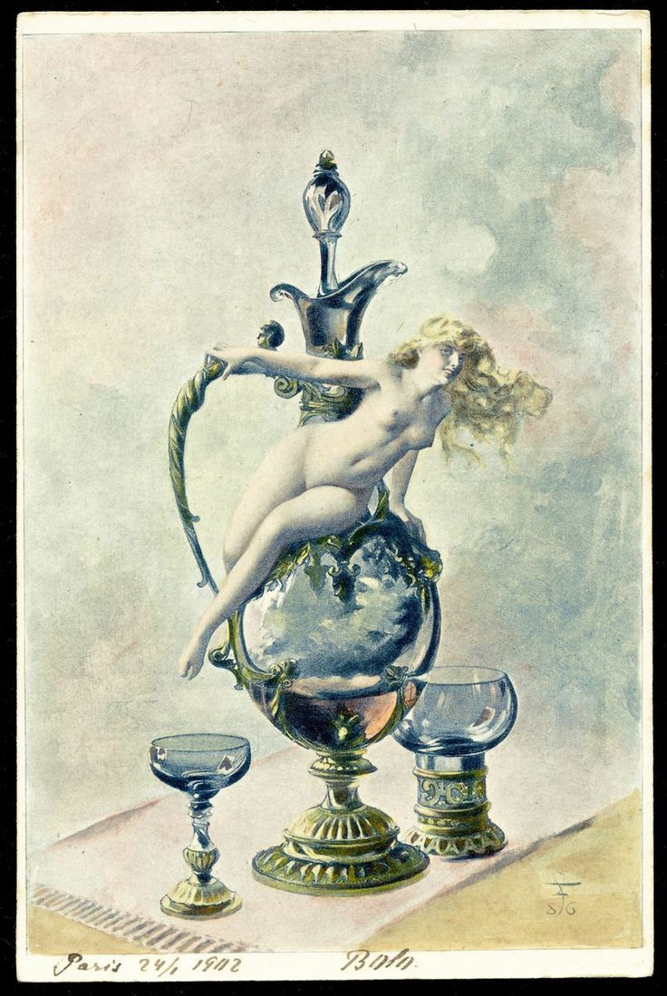 """RARE Artist Signed NUDE lithograph Luis Ricardo Falero """"Wine of Tokai"""" from Polish Count's Collection"""