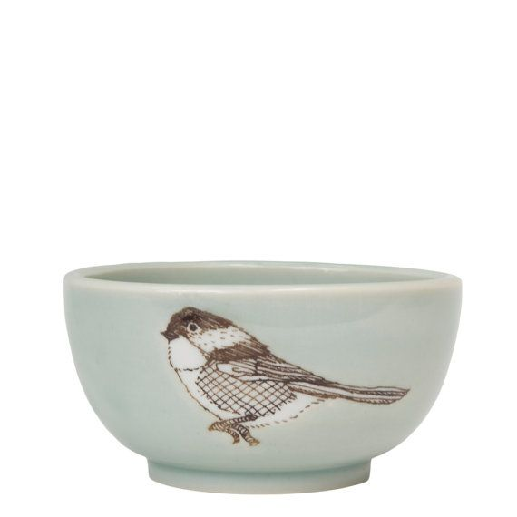 Porcelain Chickadee Illustration Bowl: Small Silkscreened, High-Fired Porcelain Bowl- Handmade Pottery by SKT Ceramics on Etsy