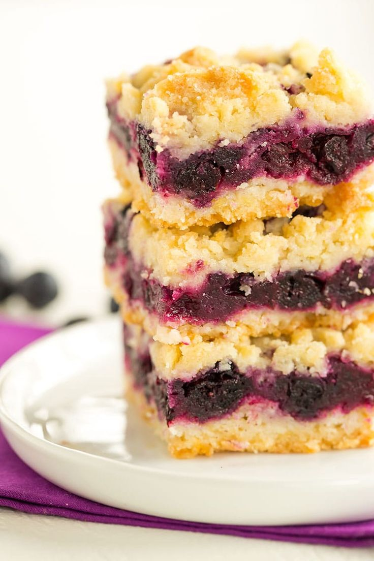 Blueberry Crumb Bars - A big stack waiting for your summer party!
