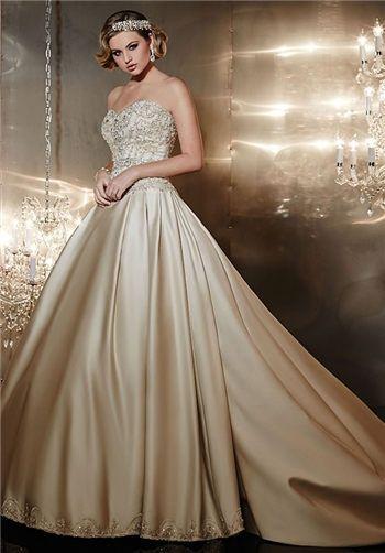 16 best wedding dresses images on pinterest for Gold beaded wedding dress