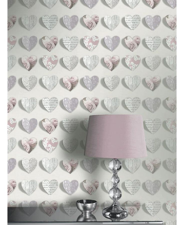 A beautiful hearts themed wallpaper Subtle metallic accents Colour: Pink / Grey